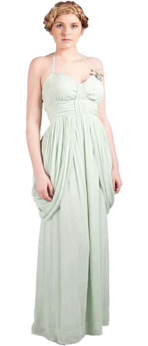 Emma maxi  (shown with vintage posey broach)  Fabric; 100% viscose georgette.  U.K sizes: 8-16 Colours: cucumber green, mink, sky blue, venice green, soft coral, cloudy lilac, palma violet, spearmint.  Styling and customising option: Wear the drape sides on the shoulder for a Grecian look or add a Jenny Jacket & our vintage posey flowers for a vintage feel.