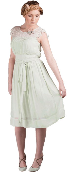 Jasmine dress Fabric: 100% viscose georgette with ivory colour embroiodery chiffon mix at  Yoke neckline panel.  U.K sizes: 8-16 Colours: cucumber green, rose water, sky blue, mink.